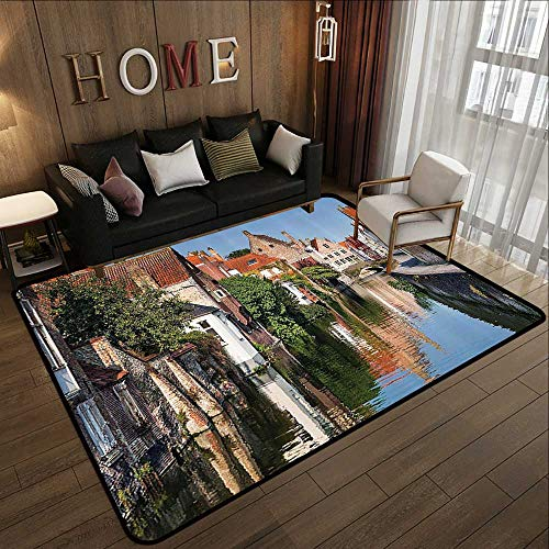 - American Floor mats,European Cityscape Decor Collection,Vivid Scenery with Water Canal in Bruges Old Town European Fairy Heritage Decor,Mult 71