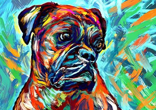 Boxer Dog Art Print, Colorful Boxer Dog Owner Gift, Dog Wall Art Print, Boxer Dog Decor Hand Signed Boxer Mom Gift by Oscar ()