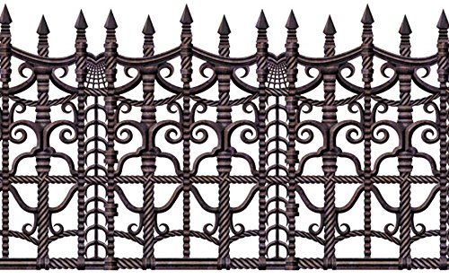 UHC Haunted House Creepy Fence Border Horror Party Supplies Halloween (Cemetery Fence Halloween Prop)