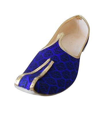 kalra Creations Hombre tradicional indio seda zapatos de boda, color Azul, talla 41.5 EU