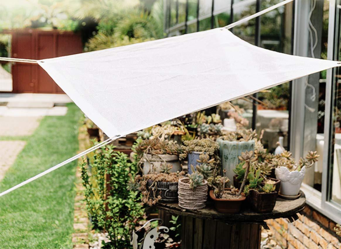 FOTEE 85/% Tenda a Vela Rettangolare Balcone e Terrazza,White/_1x1m//3x3ft Protezione Antivento Tenda a Vela Traspirante Rete Parasole per Giardino