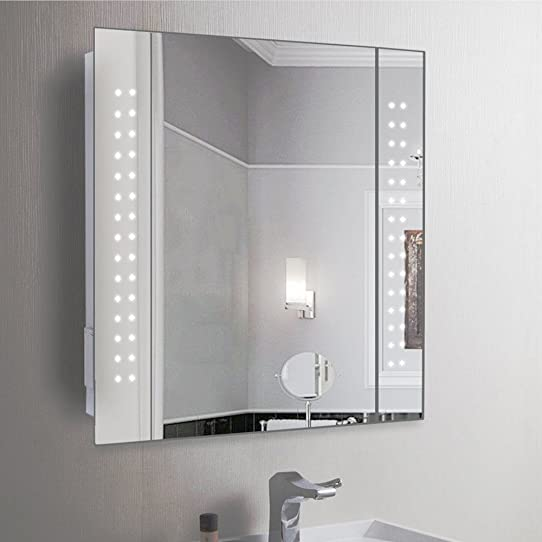 elegant anaelle pandamoto armoire de toilette avec miroir porte et lumineux led sur salle de. Black Bedroom Furniture Sets. Home Design Ideas