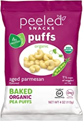 Peeled Snacks Organic Puffs, Aged Parmesan, 4 Ounce