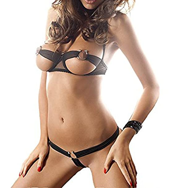Hot women sexy open bra halter steel cupless lingerie set