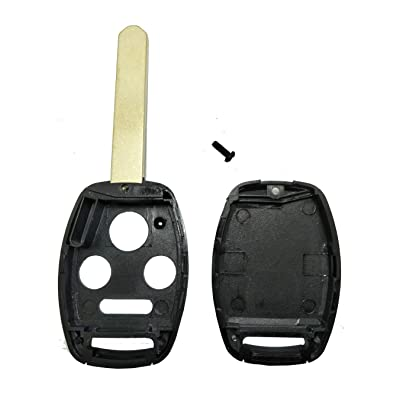 Key Fob Shell Case for Honda 2003-2007 Accord / 2005-2006 CR-V Keyless Entry Remote Head Key Combo 4 Buttons Replacement Car Key Casing with Uncut Blade Blank (4 Button Key Shell): Automotive