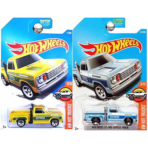 Hot Wheels Hot Trucks 1978 Dodge Li'L Lil Little Red Express Pickup Truck Yellow and Blue SET OF 2 1978 Dodge Lil Red Express Truck