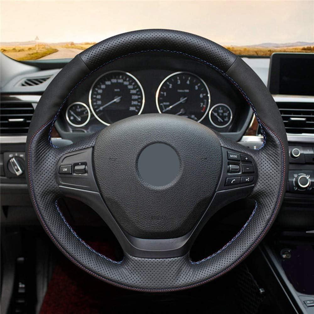 LUOERPI Black Suede Car Steering Wheel Cover,for BMW F87 M2 F80 M3 F82 M4 M5 F12 F13 M6 F85 X5 M F86 X6 M F33 F30 M Sport Hand-Stitched Steering Wheel Cover