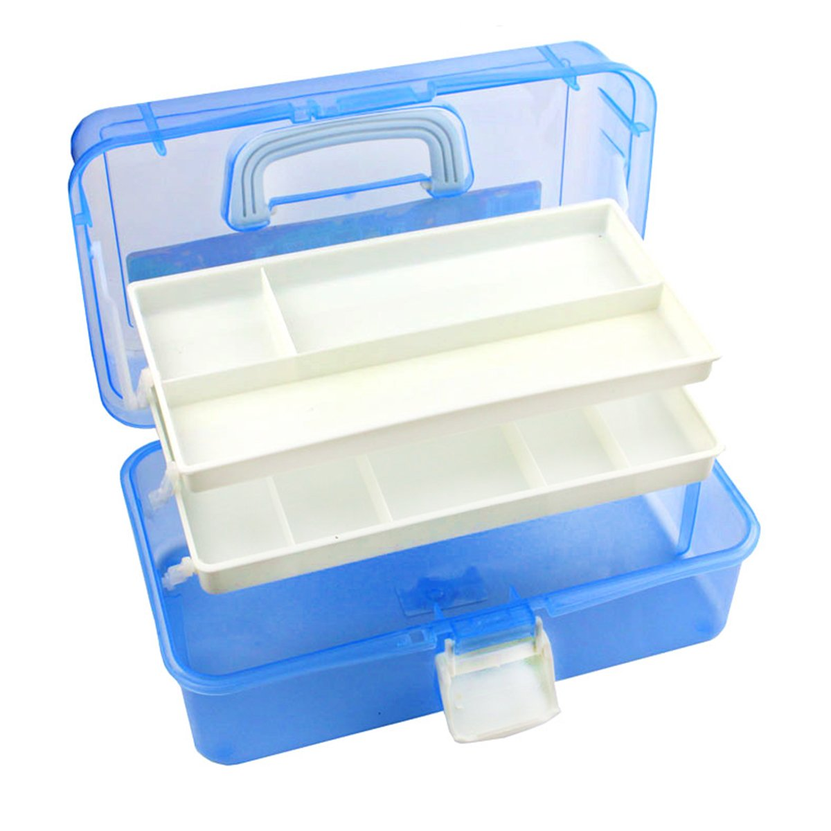 Tosnail 12-inch Plastic Art Supply Craft Storage Tool Box Container Case with Two Trays FBA_T-PlasticCraftBox-Blue