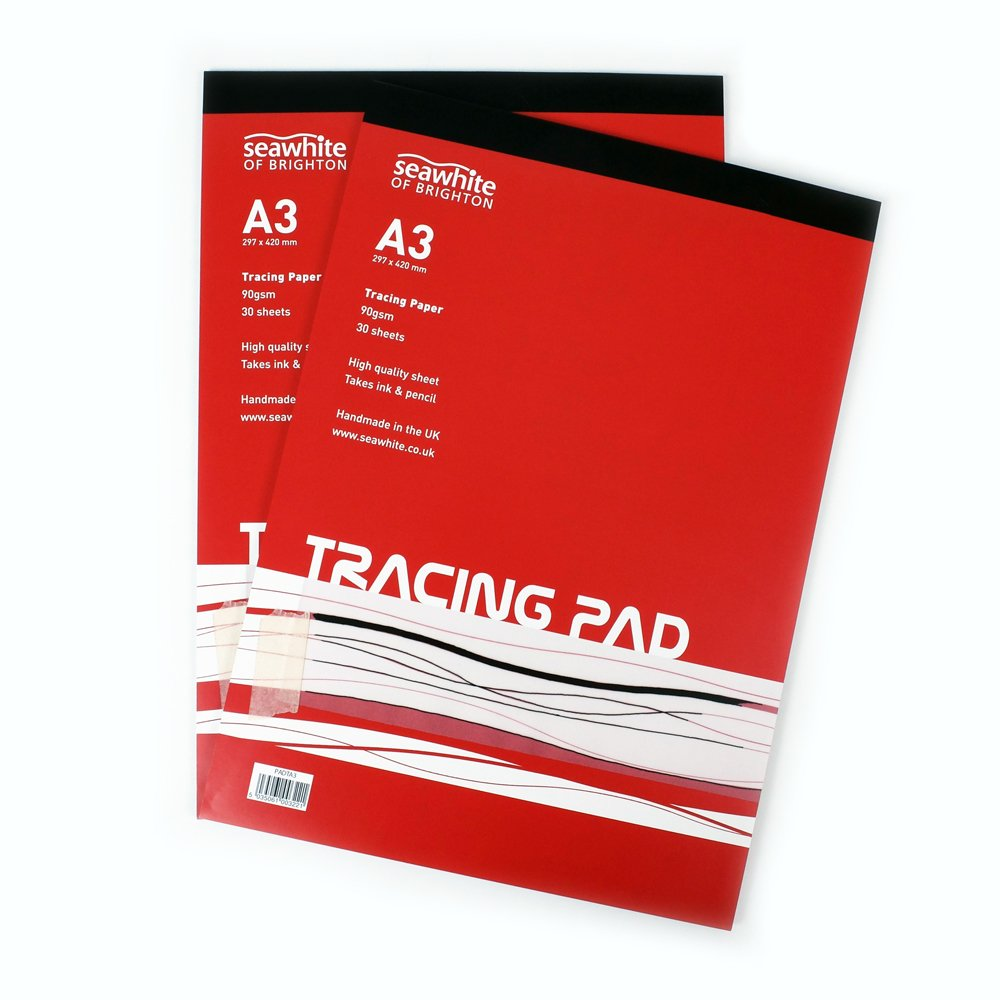 A3 Tracing Pad - 90 gsm - 30 Sheets High Quality - Semi-Transparent Paper - Suitable for Pencils and Ink Pens - Ideal for Students and Professional Artists Seawhite