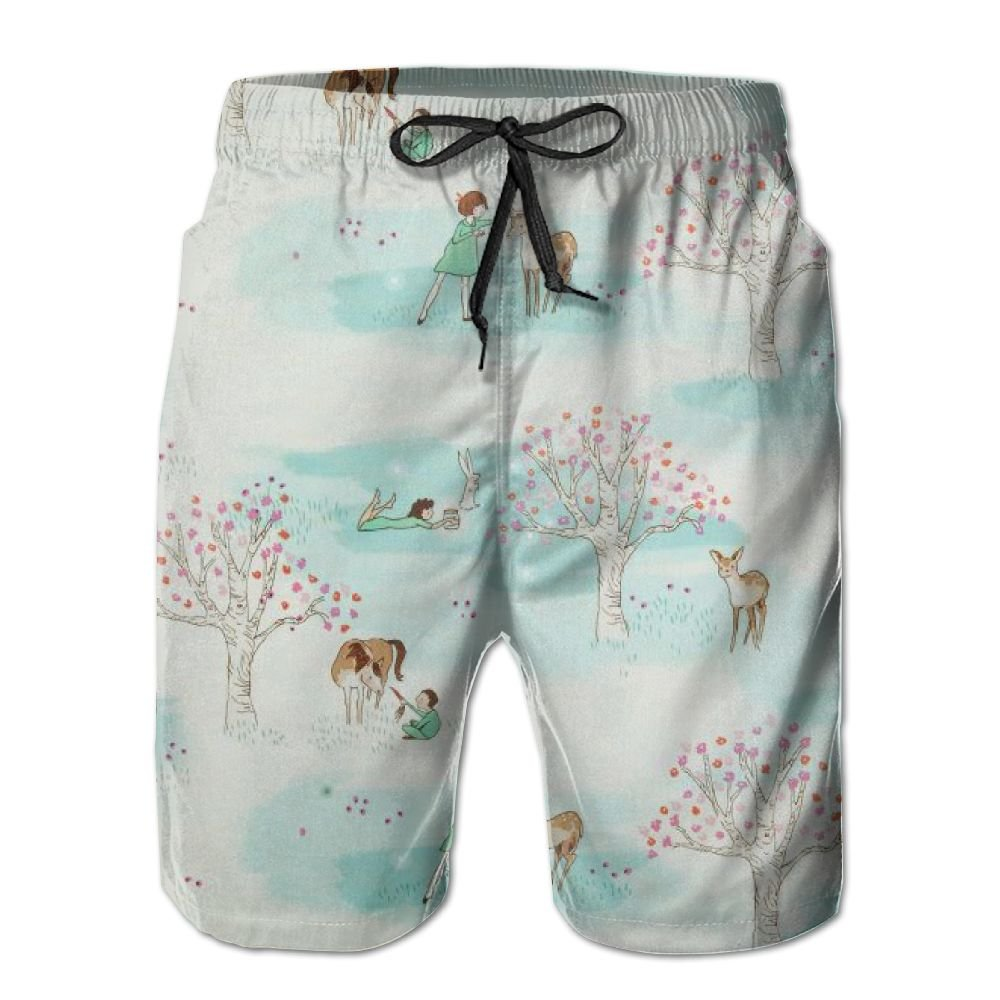 Turquoise Wander Woods Beach Short Shorts Home Custom Classical Jogging