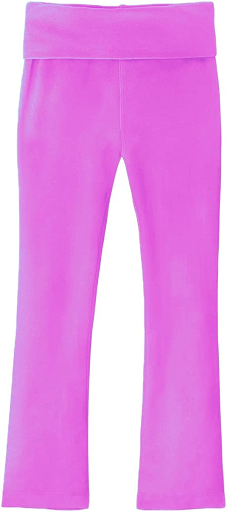 Clementine Apparel Big Toddler Girls High Rise Fold Over Waist Soft Stretch Yoga Pants