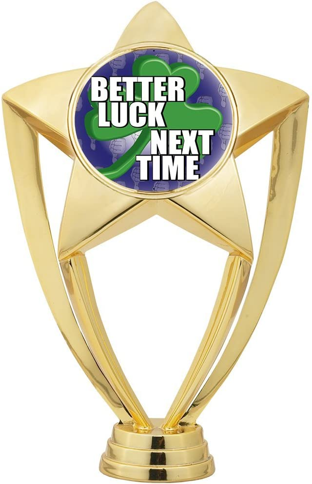 7.25 Personalized Better Luck Next Time Loser Trophy On Deluxe Round Base Prime Crown Awards Last Place Trophies with Custom Engraving