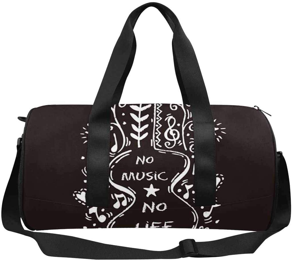 INTERESTPRINT No Music No Life Travel Duffel Bag Waterproof Bag