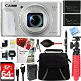 Canon PowerShot SX730 HS 20.3MP 40x Optical Zoom Digital Camera (Silver) (1792C001) + Two-Pack NB-13L Spare Batteries + Accessory Bundle