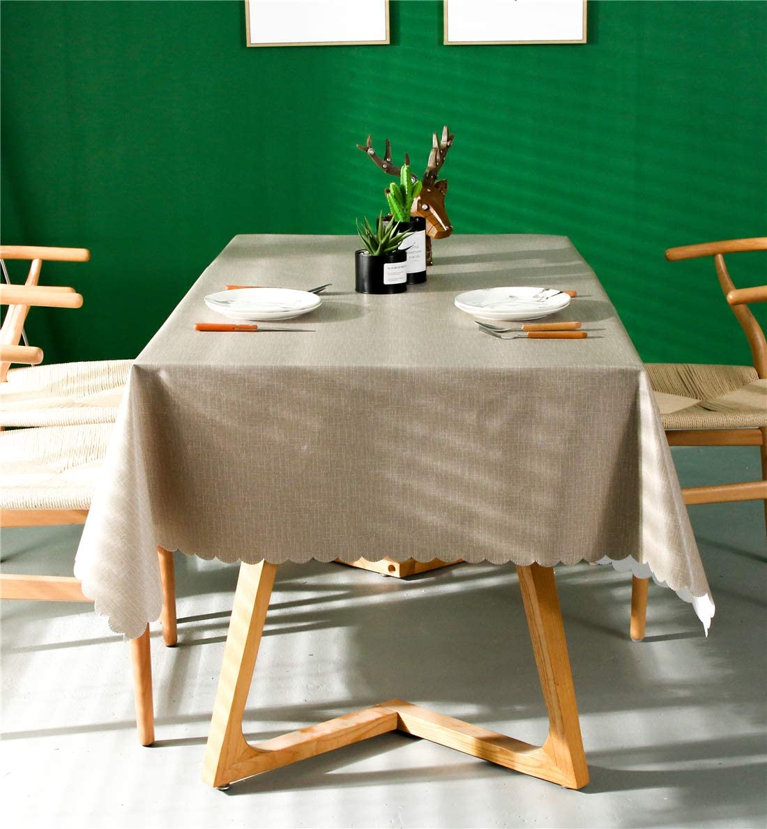 140x180cm,P-4 Omelas Plaid Vinyl Tablecloth Rectangular 55x70in Beige and White Checkered PVC Oilcloth Oblong Wipe Clean Dining Kitchen Table Cover Protector Waterproof//Stain-Resistant//Oil-Proof