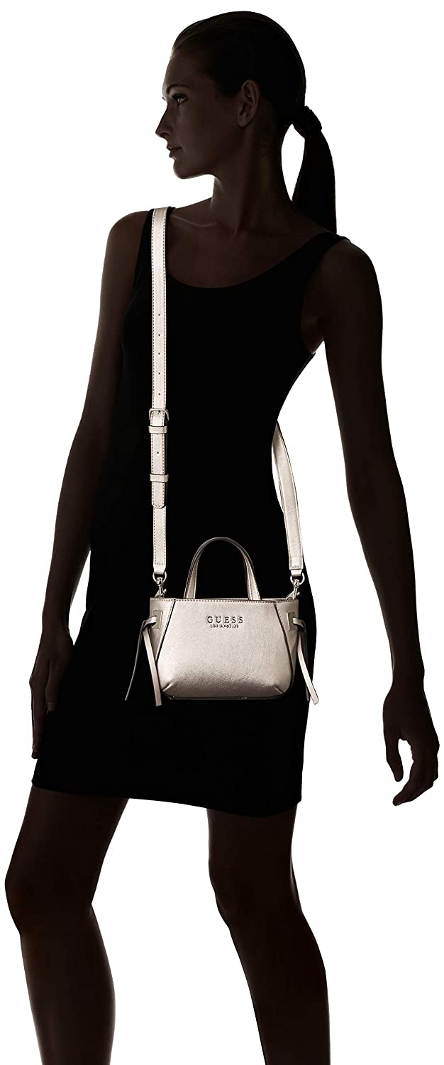 Amazon.com  GUESS Lizzy Metallic Mini Tote, Pewter  Clothing a09d9ca491