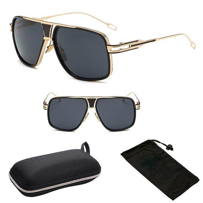 630febca27da ( P9762MT Blk) Exclusive Pimpster Metal Gold Frame Oversized Men Women  Unisex Sunglasses