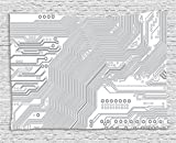 Ambesonne Digital Tapestry by, Computer Motherboard Electronic Hardware Technical Display Futuristic Plan Design, Wall Hanging for Bedroom Living Room Dorm, 80WX60L Inches, Grey White