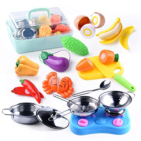 YIYUE Pretend Play Kitchen Toys, Stainless-Steel Toy Pots and Pans, Mini  Utensils with Environment-Friendly Plastic Play Cut Vegetables with Safe ...