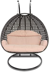 Island Gale Luxury 2 Person Outdoor Patio Hanging Wicker Swing Chair (X-Large, Latte Rattan/Latte Cushion)