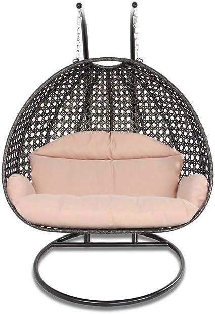 Amazon Com Island Gale Luxury 2 Person Outdoor Patio Hanging Wicker Swing Chair X Large Latte Rattan Latte Cushion Garden Outdoor