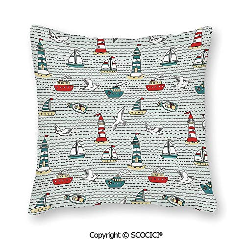 SCOCICI Home Decor Throw Pillowcase for Sofa Cushion Cover Seagulls Lighthouses Message in Bottles Steamboats Sailboats Square Accent Zippered and Double Sided Printing Pillow Case Covers 16X16 Inch (Message In A Bottle Cover Machine Head)