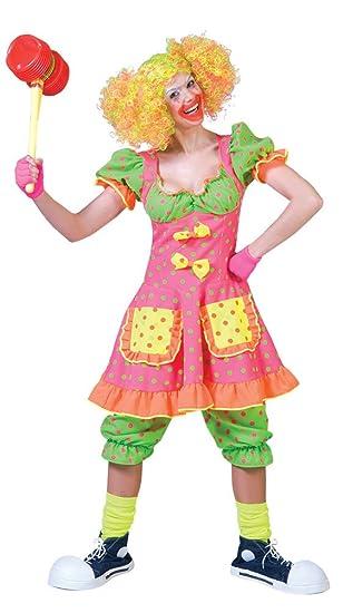 68881c717b68 Karneval-Klamotten Clown-Kostüm Damen Clown-Kleid und Hose neon Farben  Damen-Kostüm Größe 36/38