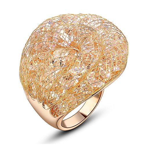 Dnswez Chic Cubic Crystal Filled Wire Mesh Cocktail Ring for Women Gift Rose Gold Plated(8)