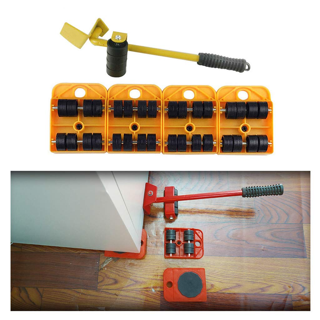 Weite Furniture Lifter Set with 4 Pieces Mover Rollers, Heavy Furniture Roller Move Tools, 360 Degree Rotatable Pads, Easily Redesign and Rearrange Living Space (Yellow) by Weite (Image #1)