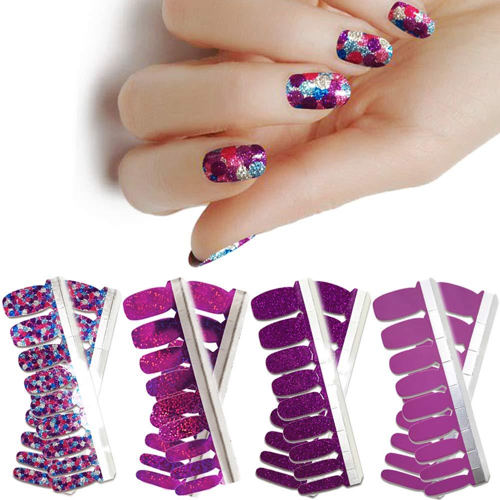 LIULI 4 Sheets Full Nail Wraps Art Polish Strips Purple Stickers Adhesive False Nail Designs Manicure Set with 1Pc Nail Buffers Files For Women Girls by LIULI