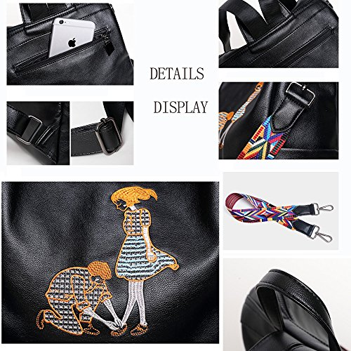 Leather delicate Shoulder Gilrs Travel Bag Black PU Purse Canvas Women's Backpack Rucksack Embroidery HLBag qU7twt