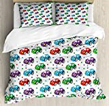 Cars Duvet Cover Set King Size by Ambesonne, Children Baby Boy Toy Figures Pattern with Dots Number Five Cars for Joyous Play Time, Decorative 3 Piece Bedding Set with 2 Pillow Shams, Multicolor