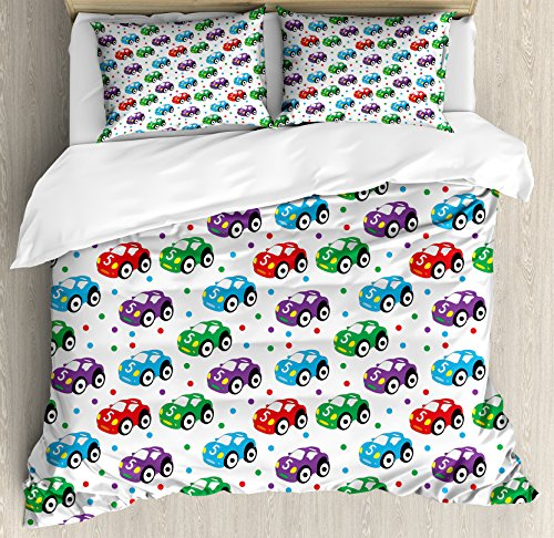 Cars Duvet Cover Set King Size by Ambesonne, Children Baby Boy Toy Figures Pattern with Dots Number Five Cars for Joyous Play Time, Decorative 3 Piece Bedding Set with 2 Pillow Shams, Multicolor by Ambesonne