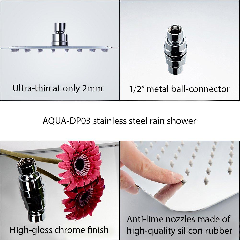 de acero inoxidable alcachofa de ducha de lujo ultrafina con boquillas antical y efecto espejo muy pulido y brillante Cabezal de ducha de 30/x 30/cm cuadrado para ducha de lluvia