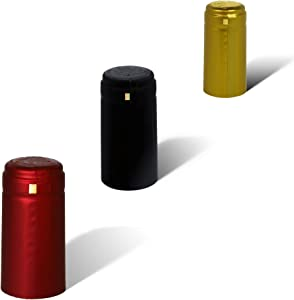 PVC heat shrink capsules - 100 count I Variety mix: 40 matte black, 40 burgundy red, 20 classic gold color