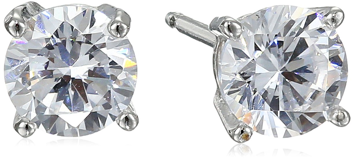 Amazon Essentials Platinum Plated Sterling Silver Round Cut Cubic Zirconia Stud Earrings (5mm)