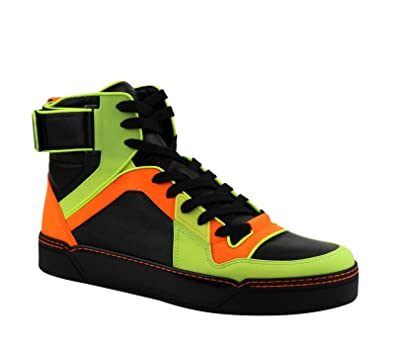 e722592eaea5 Gucci Mens Sneakers Neon Leather Logo High Top Basketball (8G   9 42.5)