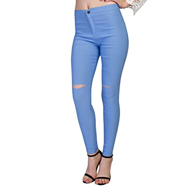4772338ff642c Chnli Women Causal Denim Skinny Ripped Pants High Waist Hole Stretch Jeans  Slim Pencil Trousers (