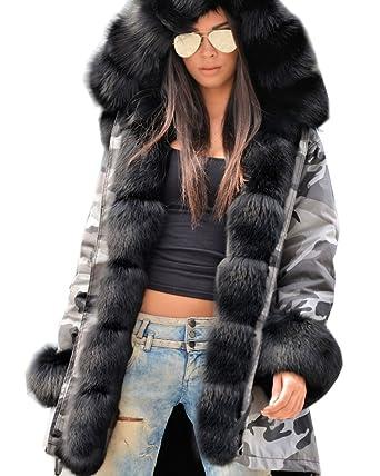0c6d06680971 Roiii Women Thicken Warm Winter Coat Hooded Parka Overcoat Long Jacket  Outwea. Black