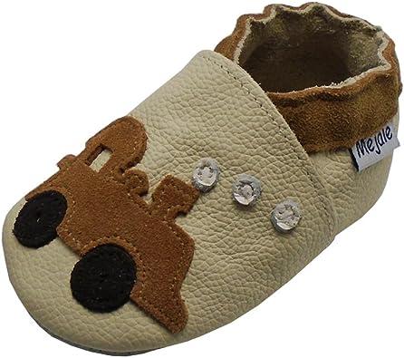 Mejale Baby Soft Soled Leather Moccasins Anti-Slip Infant Walker Sandals