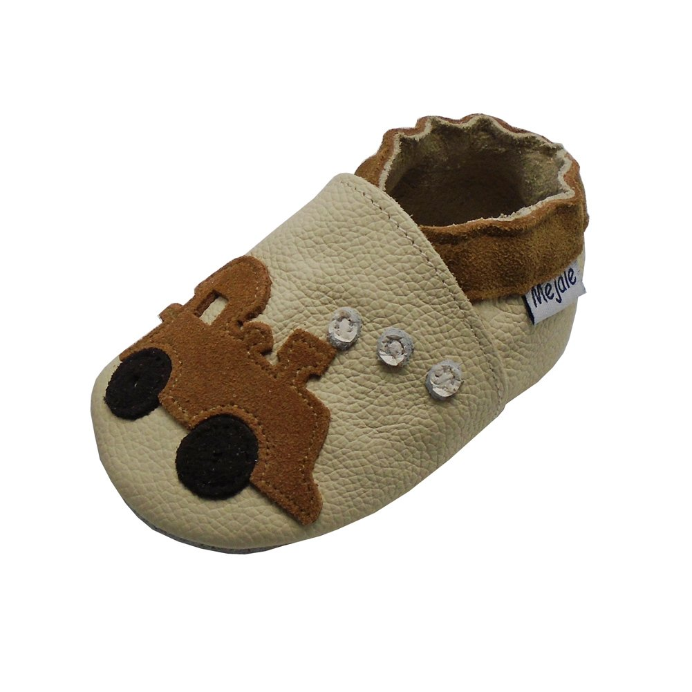 Mejale Baby Shoes Soft Sole Leather Crawling Moccasins Cartoon Train Infant Toddler First Walker Slippers