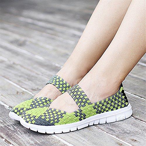 Slip 577 On Sneakers Green Comfort Leichte FZDX Woven Wanderschuhe Fashion Frauen Schuhe Handmade q4pIt7