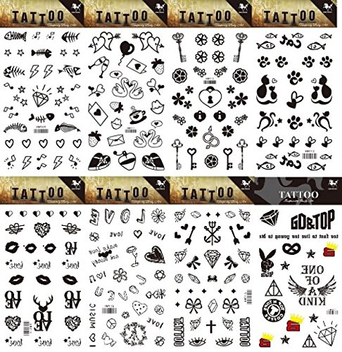 GGSELL GGSELL 8pcs different temporary tattoos designs in one package, it including fish,heart,key,cute cat,lips and totem tattoo -