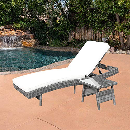 Do4U Adjustable Patio Outdoor Furniture Rattan Wicker Chaise Lounge Chair Sofa Couch Bed with Cushion and Table (8667-DRGY-T.C)