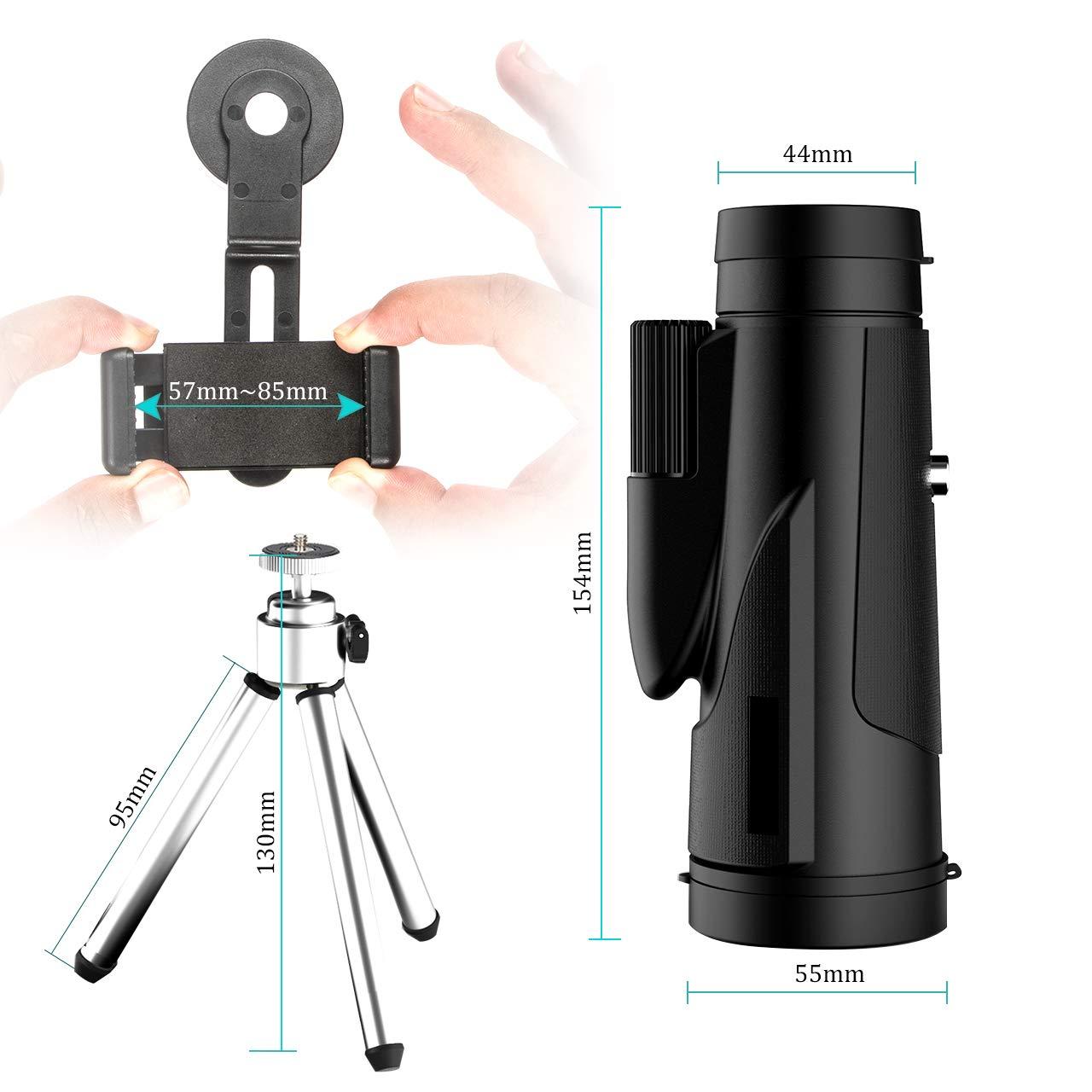 Gafild monocular Juego de Pelota 12 x 50 HD Telescopio monocular Impermeable monoculo telescopio portatil para Viajes de Caza Concierto con Adaptador de Soporte para Smartphone y tr/ípode
