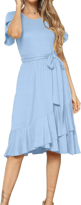levaca Women's Plain Casual Flowy Short Sleeve Midi Dress with Belt