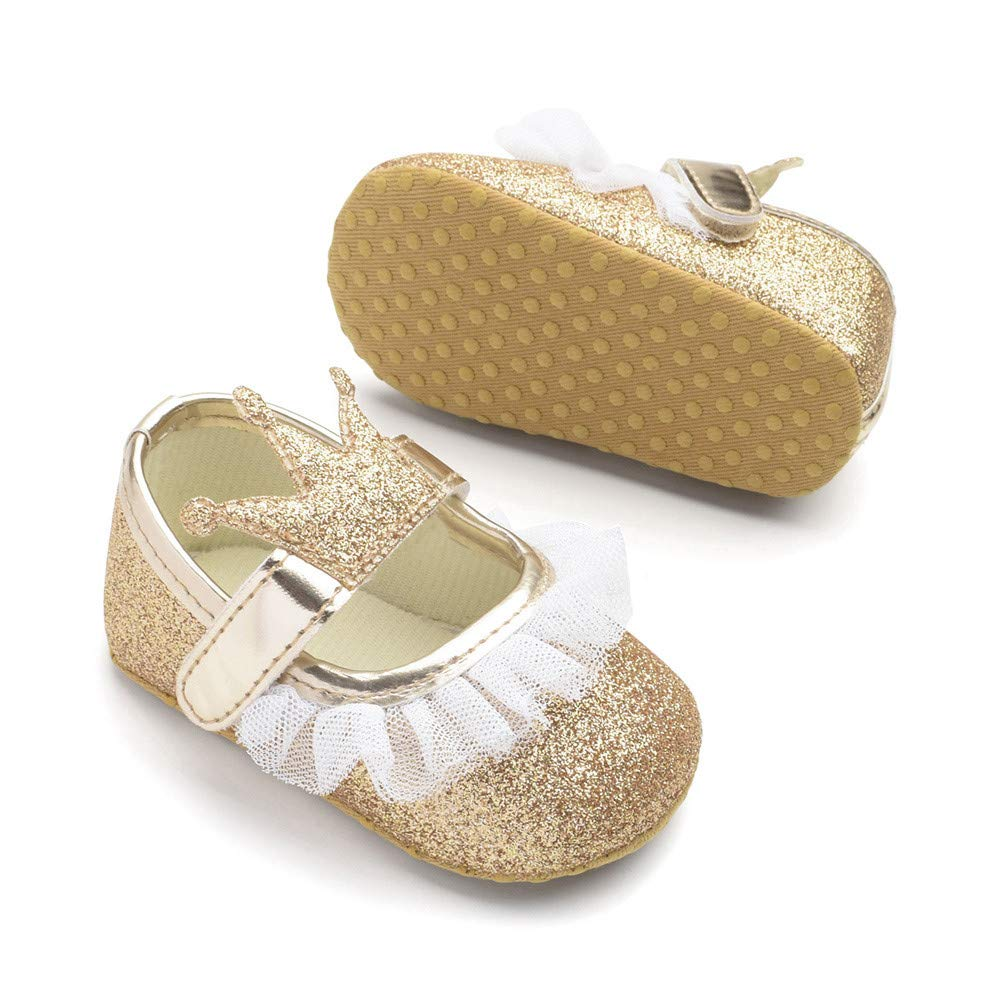 MCYs Baby M/ädchen Blume Bling Krone Spitze zuf/älliger Schuhe Mode Kleinkind Wanderer Schuhe Lauflernschuhe Krabbelschuhe Babyhausschuhe