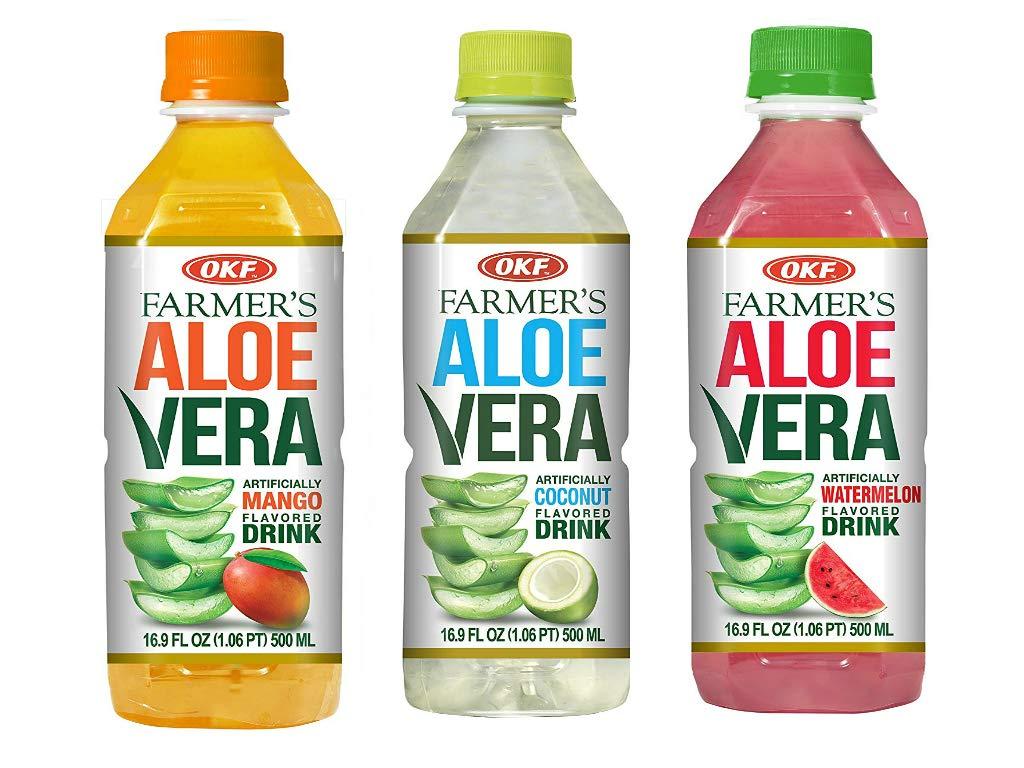 OKF Farmer's Aloe Vera Drink, Mango, Coco and Watermelon, 16.9 Fluid Ounce (Pack of 20 each)