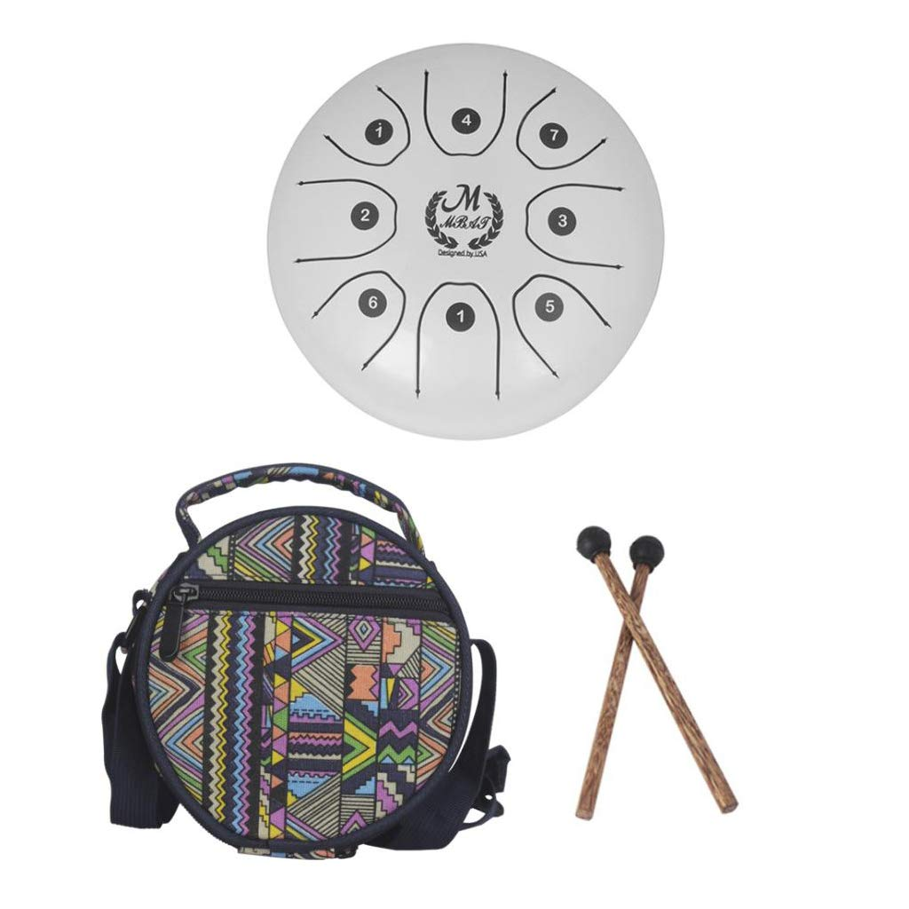 kesoto 5.5 Inch 8 Tones Steel Tongue Drum Tank Drum Small Hand Percussion with Sticks Bag for Camping, Yoga, Meditation, Party - White, as described by kesoto (Image #6)
