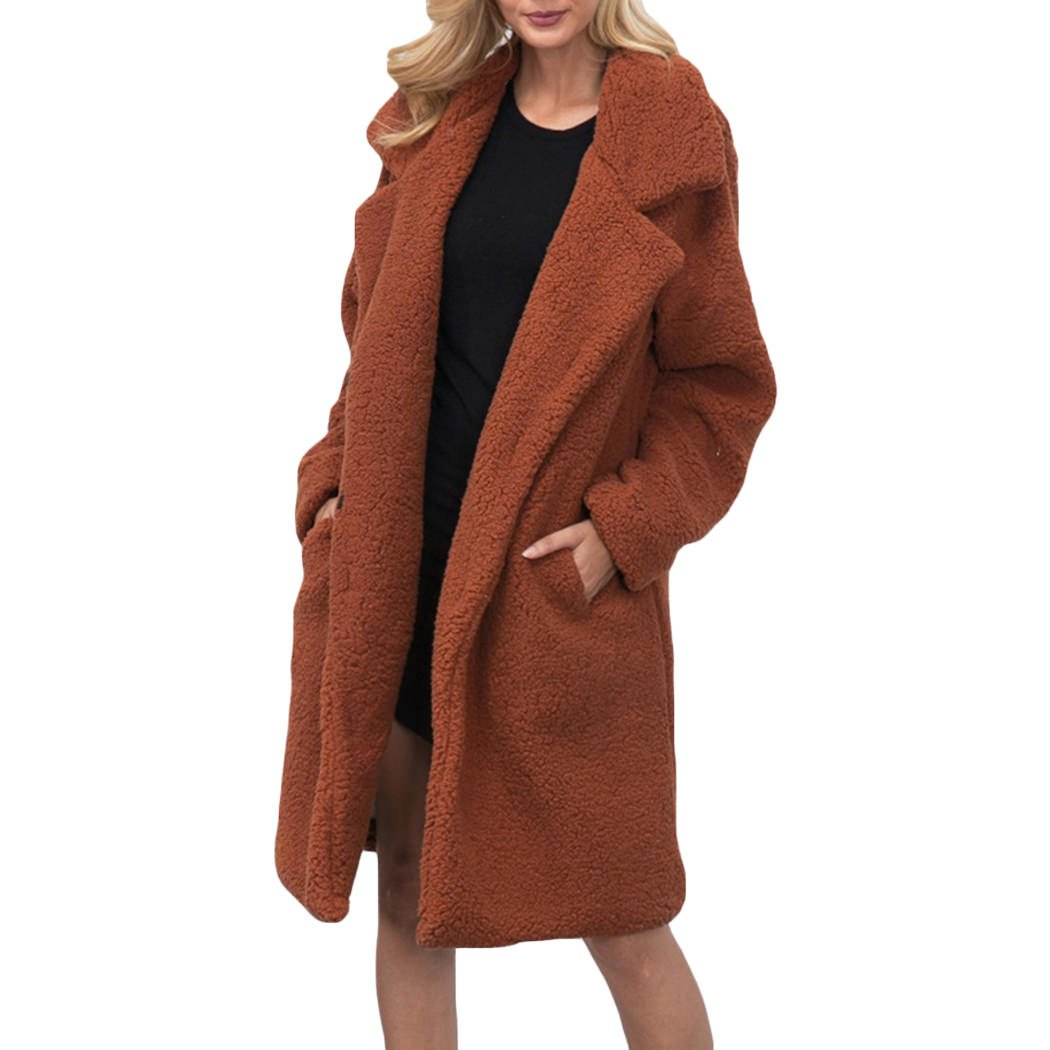 XWDA Long Trench Coat Women Faux Lamb Fur Jacket Thick Warm Winter Parka 1457